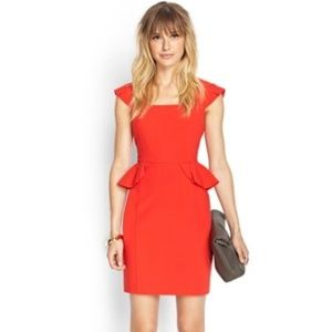 Red Work Dress with Peplum